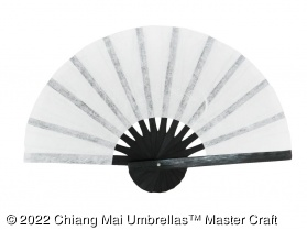 Paper hand fan with black bamboo frame - White color