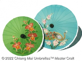 Artificial Silk  Umbrellas with Hand Painted Designs
