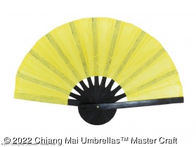 Mulberry paper hand fan with black bamboo frame - yellow