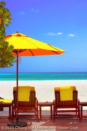 Heavy Duty Market Umbrella on a seaside pool deck
